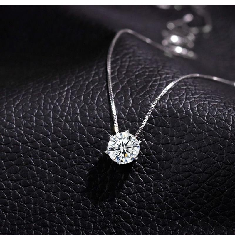 2020 Korean Shinny Jewelry 925 Sterling Silver Crystal Necklace Geometric Cubic Zirconia Round Pendant Necklace For Women
