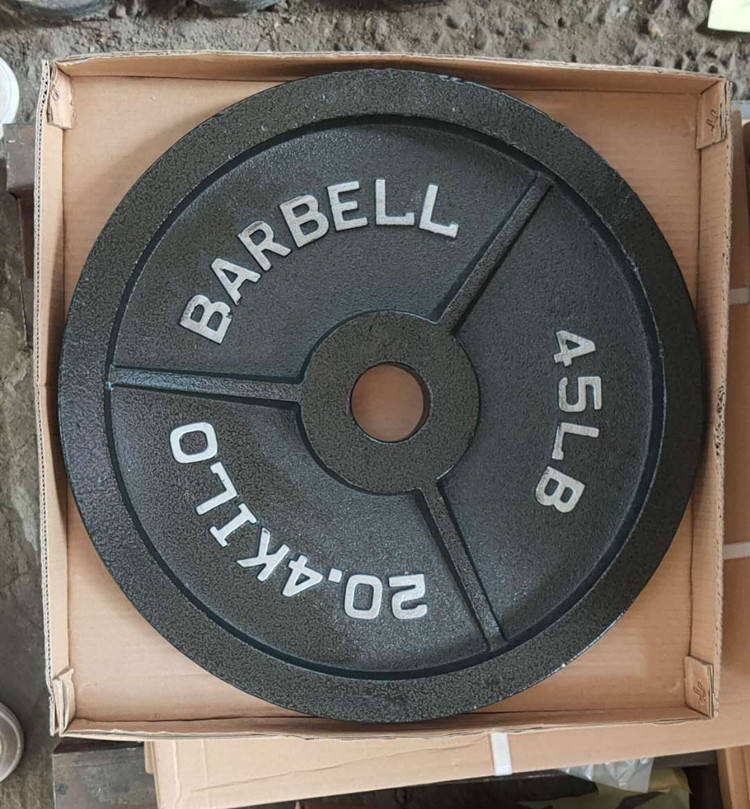 Wholesale Bodybuilding Black Cast Iron Barbell Painting Weight Plates