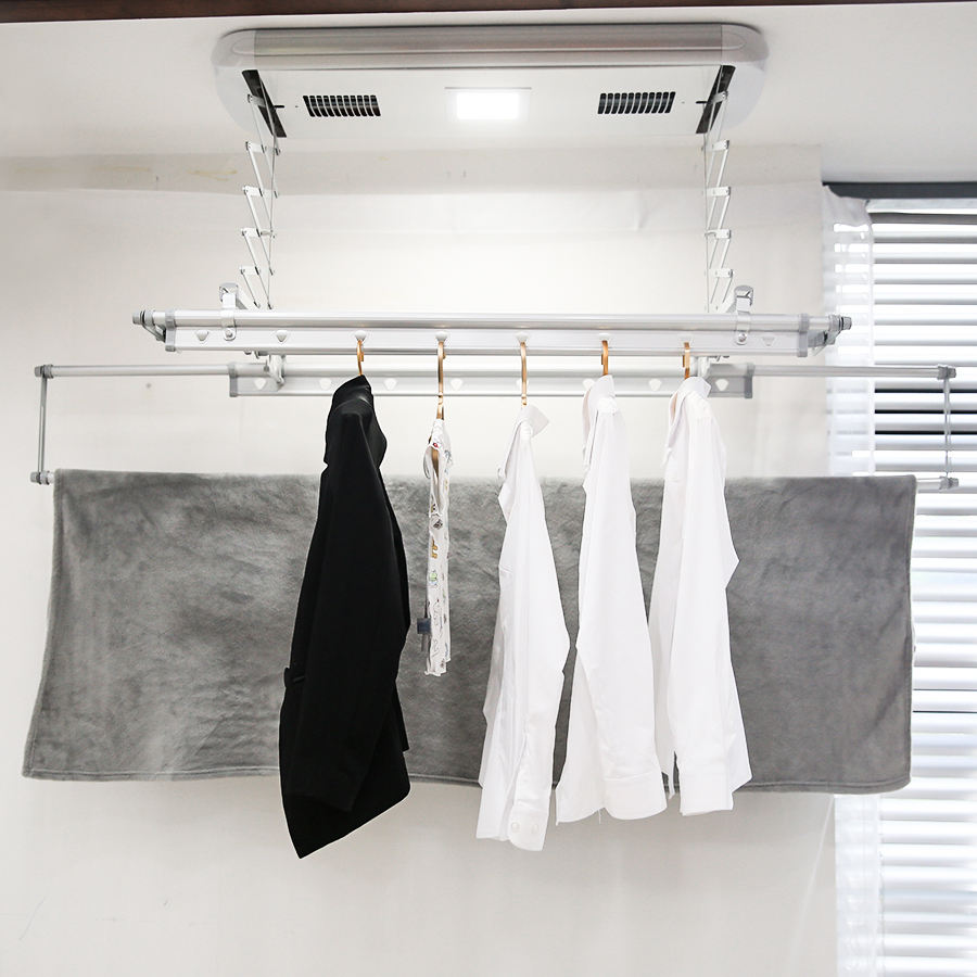 Smart home custom automatic hot air ceiling wall mounted laundry dryer rack clothes folding hangers machine foldable cloth dry