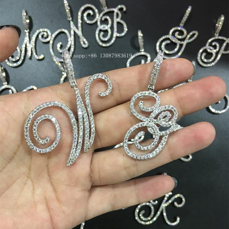 wholesale cursive initial charm chain personalised iced out cursive letter necklaces for women