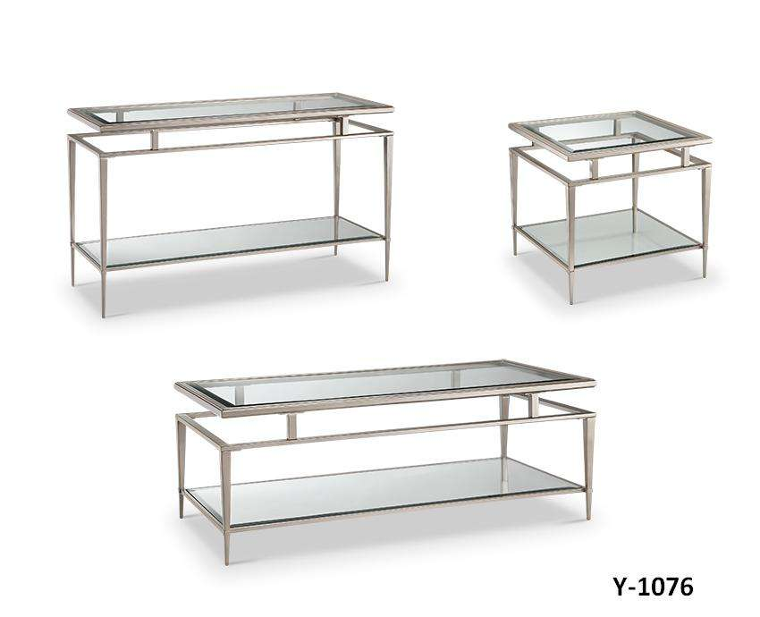 Modern Multipurpose Furniture 3 Piece Silver Double Side Glass Top Champagne Gold Metal Frame Side Coffee Table Set