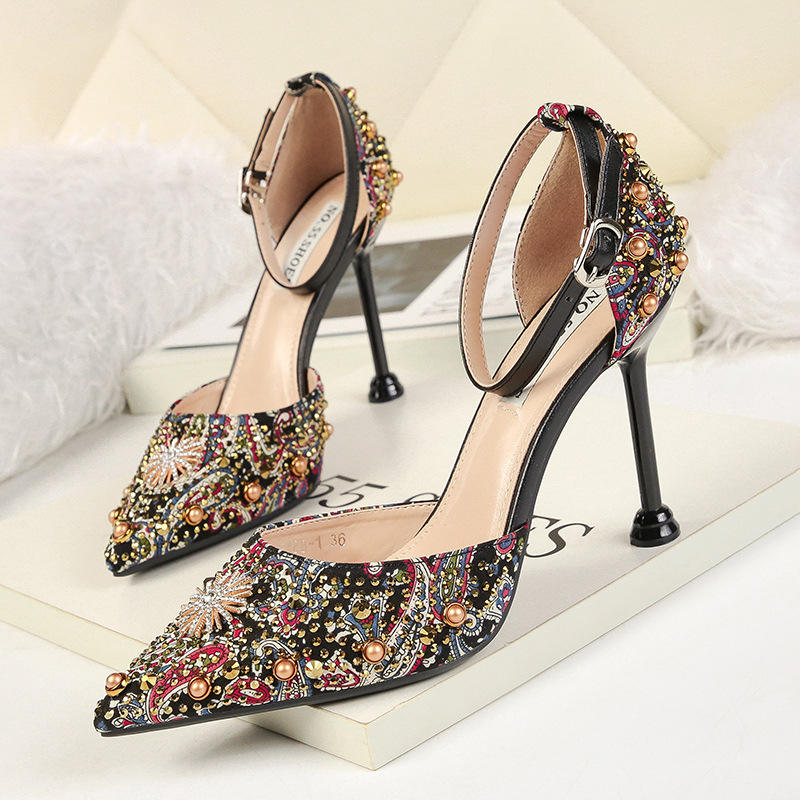 2020 Spring Autumn Women Pumps Sexy Black Gold Silver High Heels Shoes Fashion Luxury Rhinestone women's dress shoes