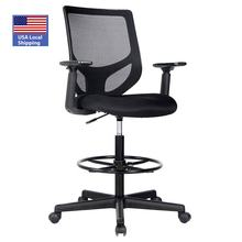 USA LOCAL Shipping Drafting Chair Tall Office Chair for Standing Desk Drafting Mesh Table Chair with Foot Ring (Dark Black)