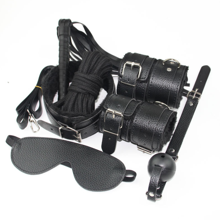 Black wolf 7 pcs set black mask sm Gag whips cuffs nipple clamp sexy bondage for males