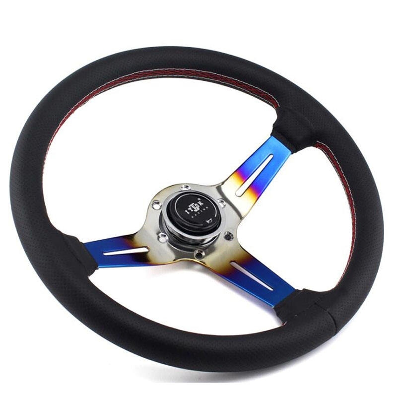 ITSOK Leather Deep Corn Dish Steering Wheel, 350mm White + Red Stitching Universal Racing Car Steering wheel