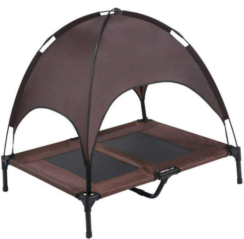 Portable Outdoor Dog Bed Elevated Pet Cot with Canopy For Camping Or Beach