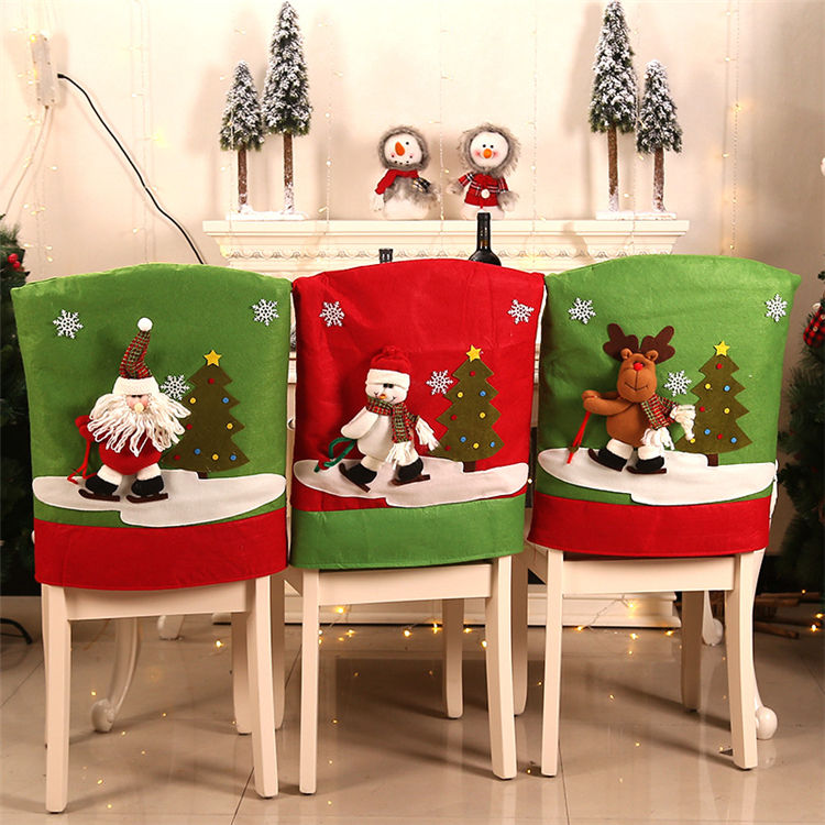 Christmas Decorations New Christmas Chair Set Santa Claus Ski Hat Chair Cover Set Christmas Table Party Decorations Accessories