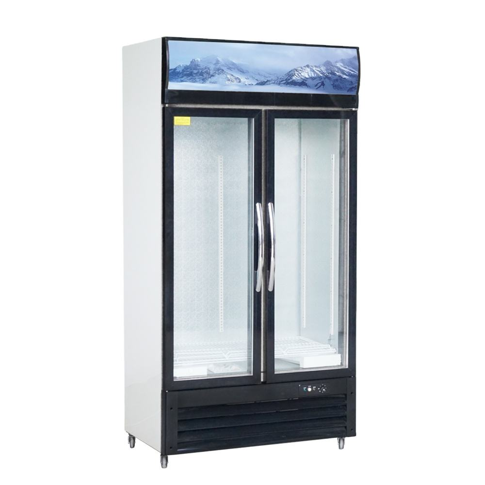 LC/S 1000HK used glass door display drink cake drug upright fridge Commercial Double Glass Door cooler