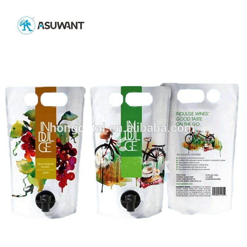 Bib Bag in Box Food Grade Portable Shape Spout Packaging for Wine / Fruit Juice / Oil