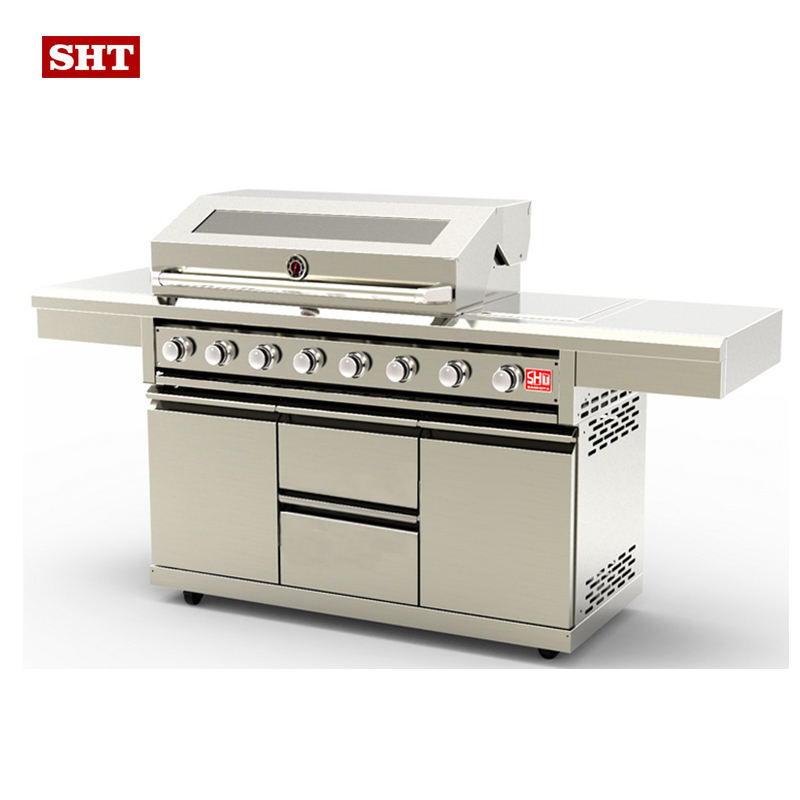 New metal kitchen 8 burners big drawers natural LPG outdoor bbq gas grill