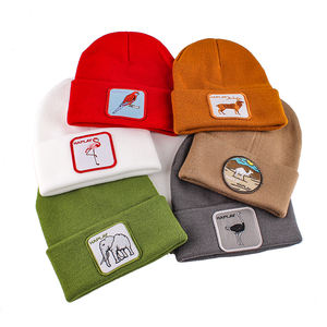 unisex winter knitted hats with custom animal embroidery logo slouchy beanie