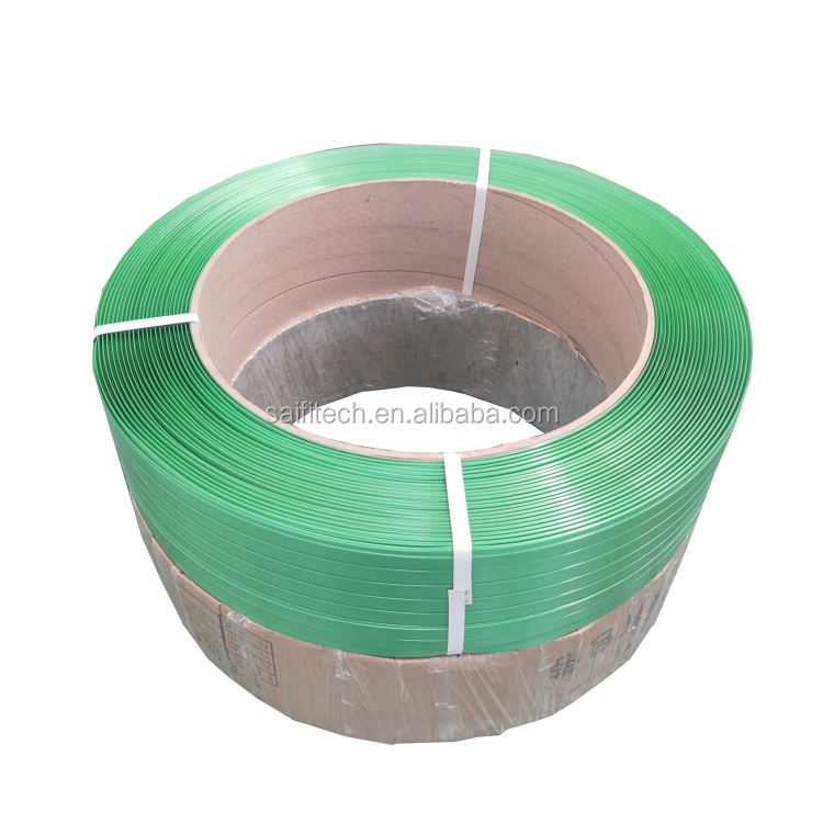 High strength green manual packing cotton bale strapping polyester 19mm pet strap