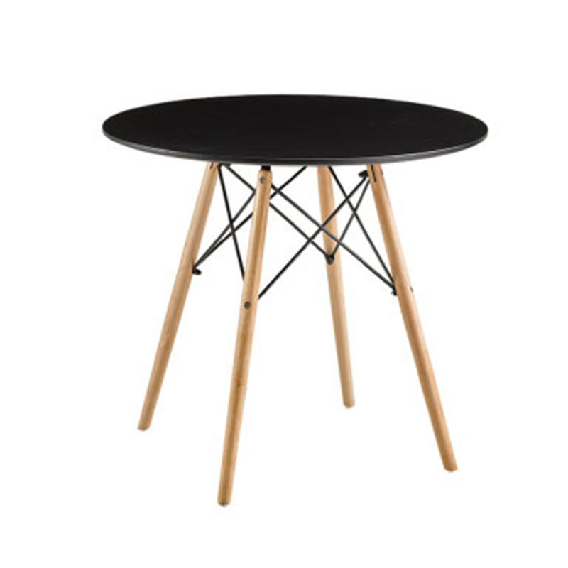 Free Sample Cheap Price Dining Room Furniture Wood MDF Black Round Modern Dining Table Designs