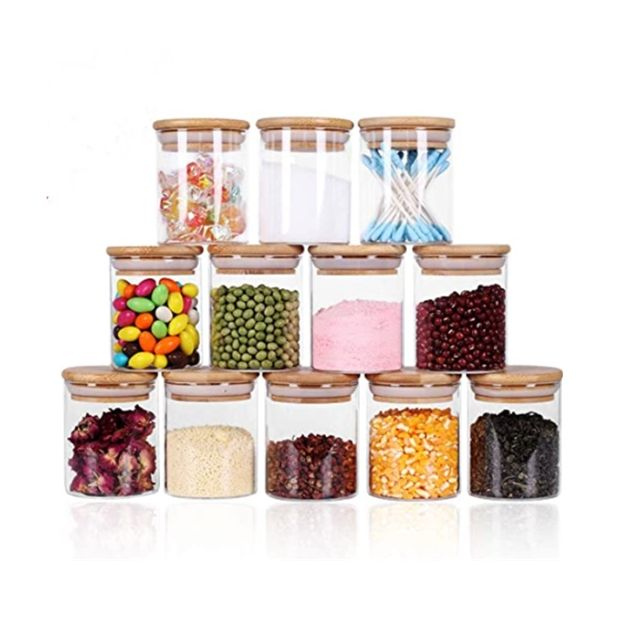 Glass Jars Set,Upgrade Spice Jars with Wood Airtight Lids, 6oz Small Food Storage Containers for Home Kitchen