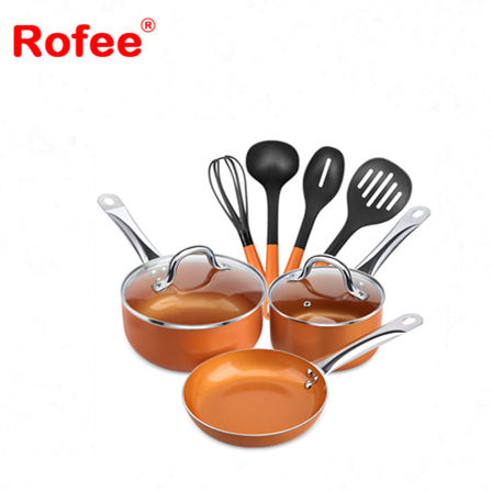 Copper Cookware Nonstick Ceramic Coating Pans and Pots Set With Lid