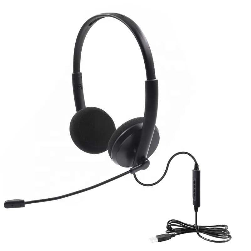 CE&RoHs High Quality Binaural Office USB Call Center PC Headset With Microphone