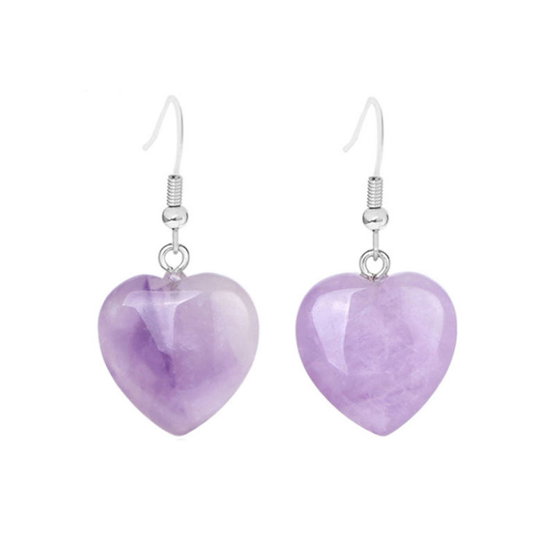 Natural Stone Pink Purple Rose Quartz Crystal Earring Dangle Drop Heart Stone Earring For Women