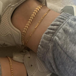 wholesale Minimalist style metal texture anklet jewelry leaf shape chain gold plated bracelet initial anklet set