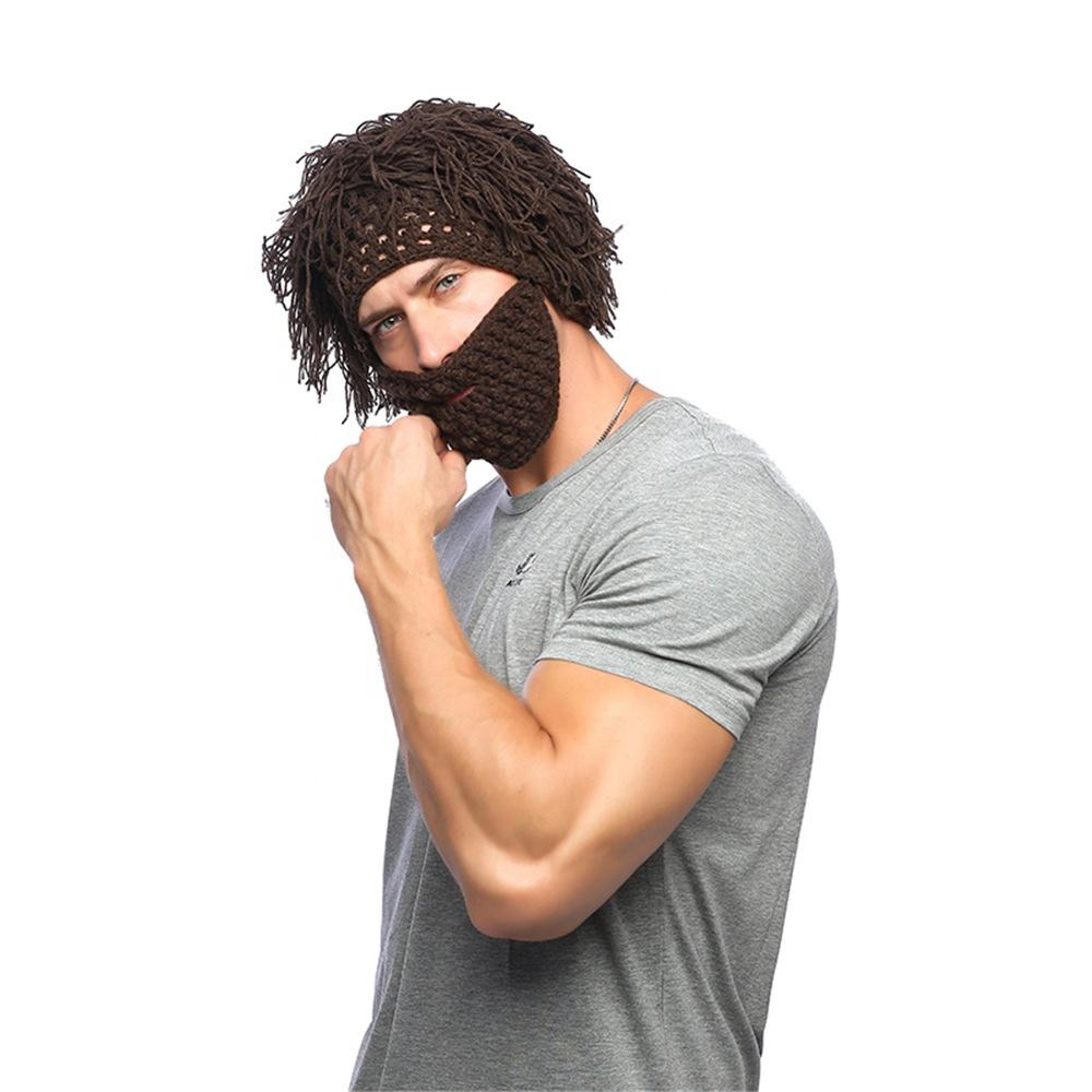 Funny Men Crochet Hand Knit Hairpiece Warmer Winter Sk Beanie Caps Hat With Beard Facemask