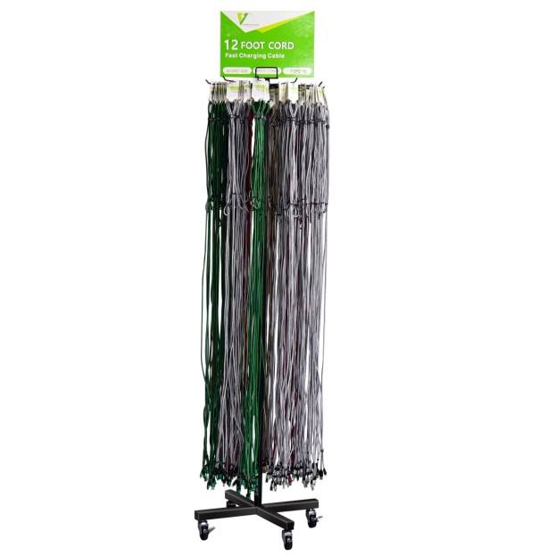 Floor metal Data cable wire display 10 FT data cable display for retail store holder for 100 pcs data cable 10FT