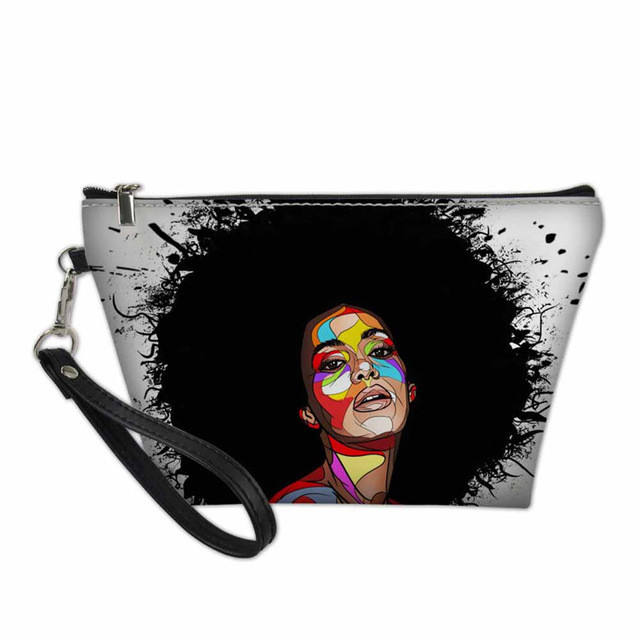 Black Art Afro Lady Girls Print Make Up Bag Organizer Cosmetics Women Makeup Case Travel Cosmetic Bag