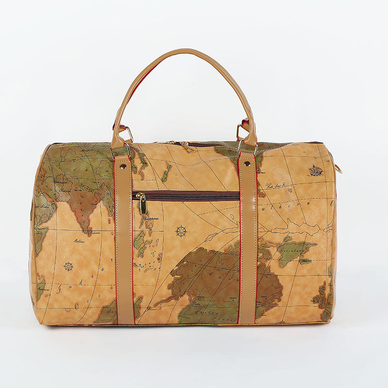 Map Leather Weekender Travel Bag Wholesale Monogrammed Map Leather Weekender Travel Bag