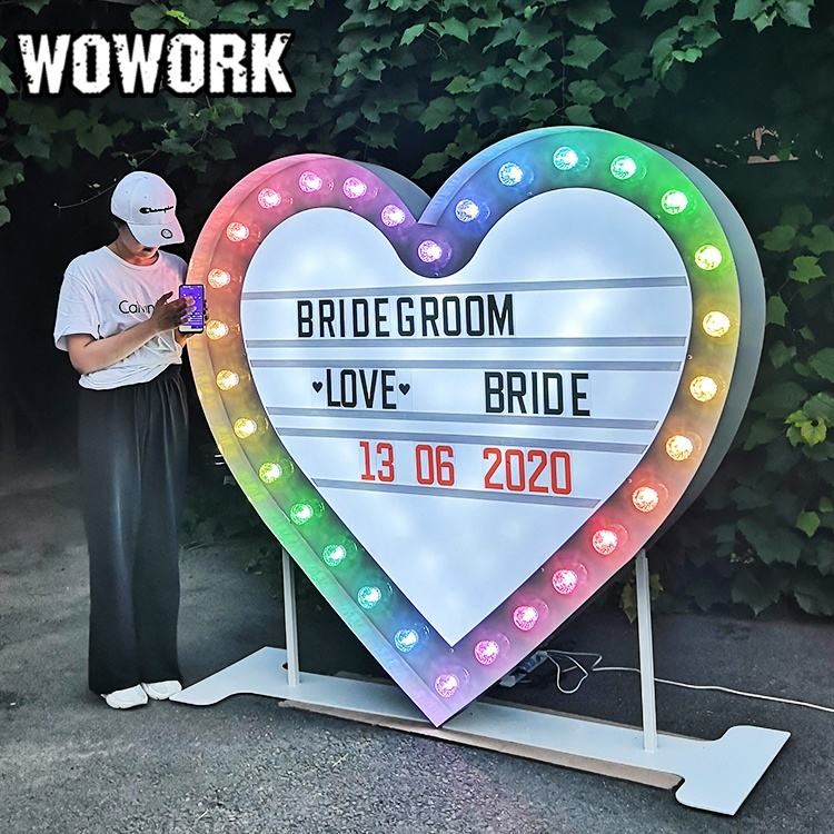 WOWORK lighted arrow cinematic light box for wedding party props with changeable letter card