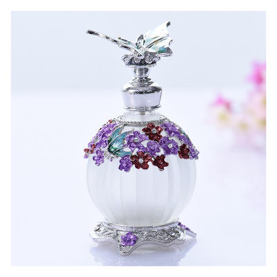 Middle east luxury Alloy colored 25 ml drawing frosted essential oil bottle Perfume