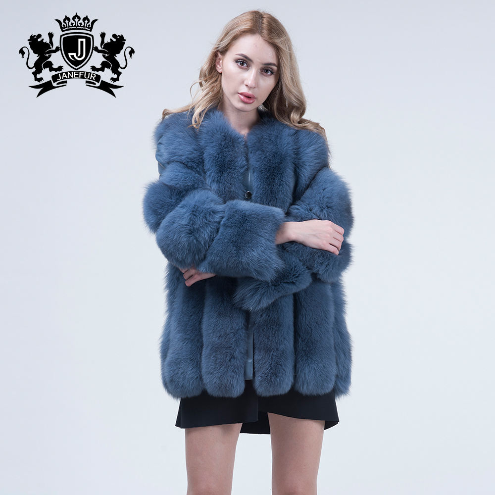 factory price oversized green patter clothes real fox fur parka coats