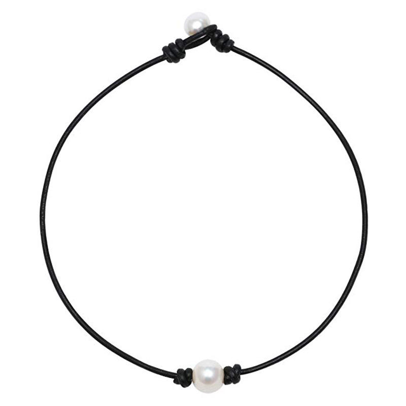 Black Genuine Leather Cord Knotted Single Real Pearl Collar Necklace Real Fresh Water Pearl Choker Necklace