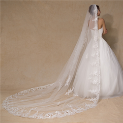 Morili top quality one layer Ivory 1.5 meters width 3 meters long bridal veil for wedding with lace edge plasti comb  MLVB28