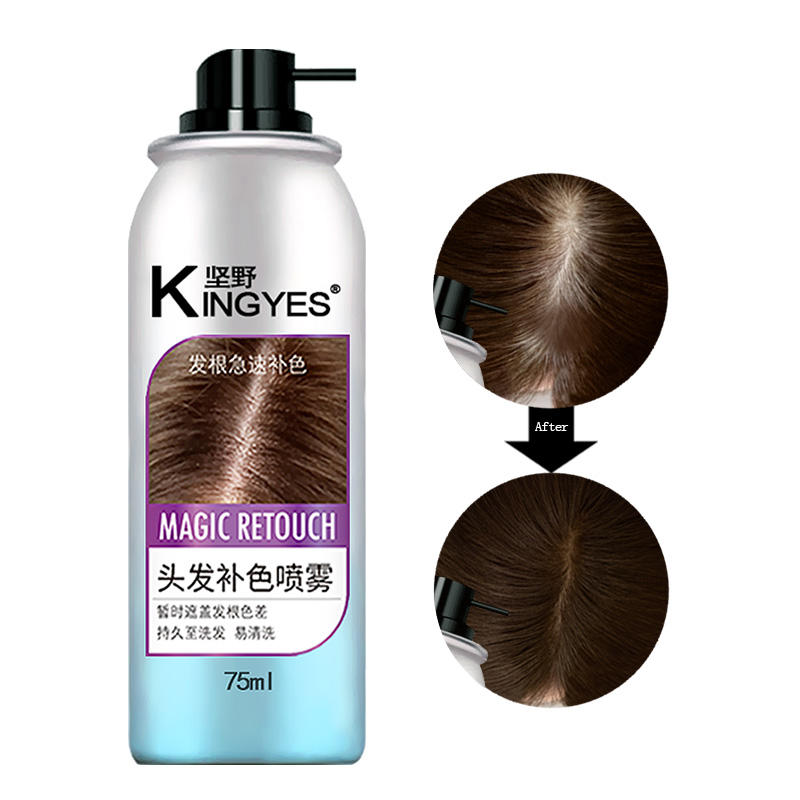 KingYes 75ミリリットルTemporary Hair色Spray Disposable Hair Dye Coloring Cream Natural Black Dark Brown Light Brown hair_spray_color