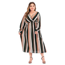 2021 New Design Striped Lady Autumn Casual Printed Plus Size Dress Women Lady Elegant Dresses
