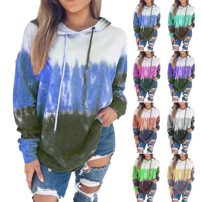 K61 top Print Home Office Dating Plush With Drawstring Colored Drawing Women Hoodies Daily Long Sleeve Gradual Change Shopping C