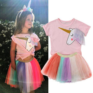2019 Summer Short Sleeve Unicorn T-shirt and Rainbow Gauze Skirt 2 Pieces Sets Childrens Clothing Sets Top and Skirts Outfits
