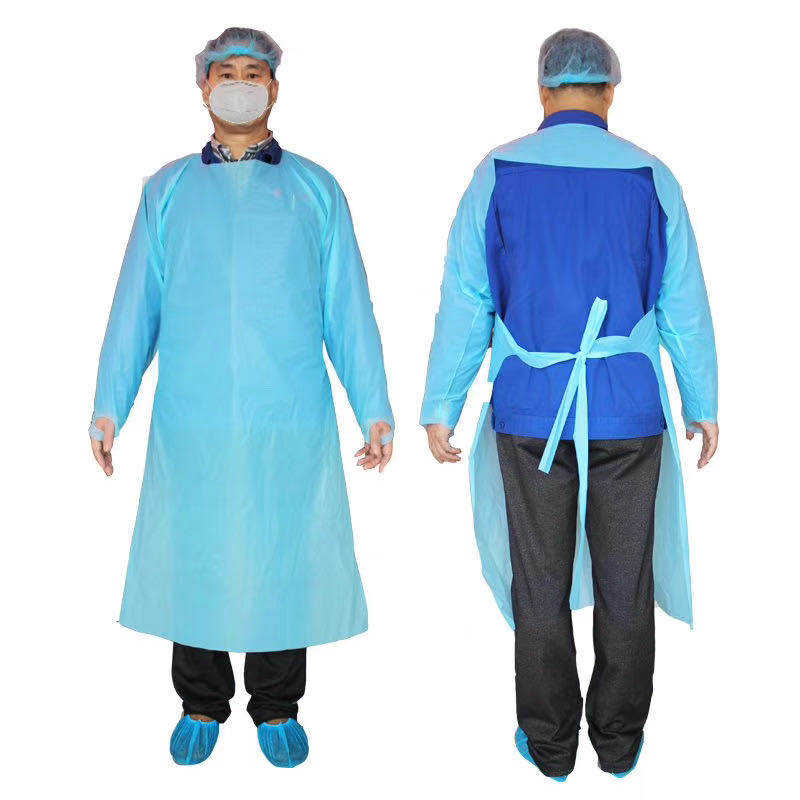 disposable cpe apron CE and FDA certified long sleeve with thumb loops