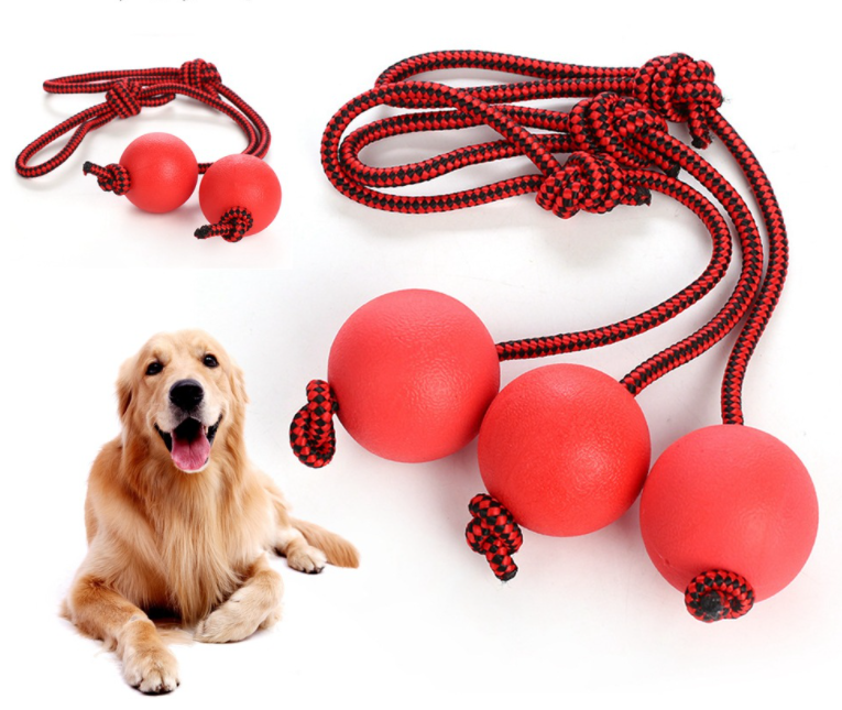 2021 New Red Rubber Bouncy Ball Training Dog Toy Durable Rubber Dog Rope Ball Chew Toy
