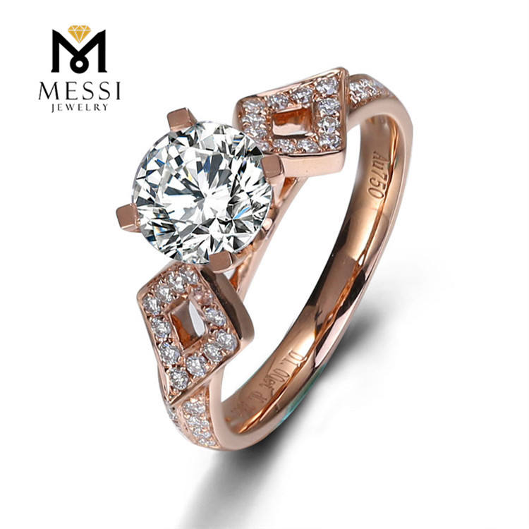 Messi Jewelry 1 Carat VVS DEF diamond 14k 18k white gold rose engagement wedding ring synthetic cvd moissanite ring for women