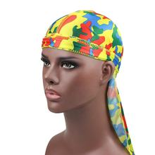 Military Camouflage Premium Silky Durags Tactical Beanie Cap with Long Tail Colorful 360 Waves durag