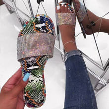 Wholesale women rhinestone sandals lady sexy Fluorescent slides women flat slippers diamond slides snakeskin flat slippers