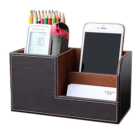 Multifunctional PU Leather Desk Organizer Desktop Storage Box Pen Holder