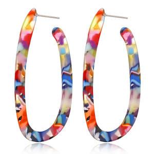 Europe Top Selling U Shape Fashion Earrings New Acrylic Leopard Printed Earrings 2019 Women Jewelry