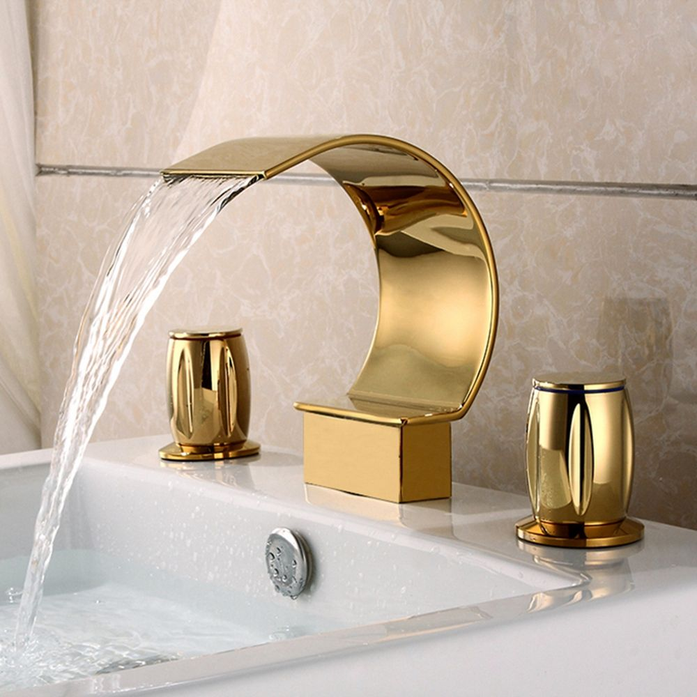 Luxury style bathroom tap waterfall 3pcs deck mount gold basin water mixer tap MLFALLS