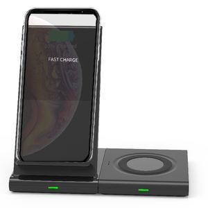 고정 로고 분해 2 합 1 기능 7.5W 10W 휴대폰 이어폰 스마트폰 시계 무선 빠른 충전기