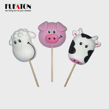 Hot sell handmade cow shape marshmallow lollipops candy