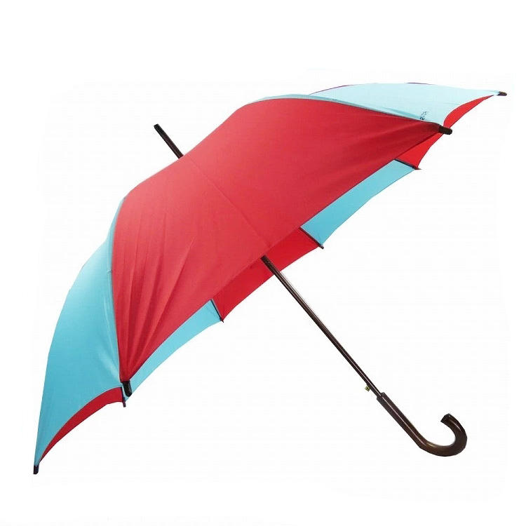 Red and blue personalized automatic wooden stick umbrella