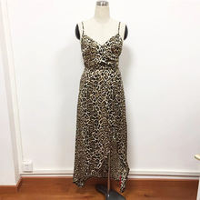 2019 Summer Clothes Leopard Printed V-neck Sexy Sling Maxi Dress
