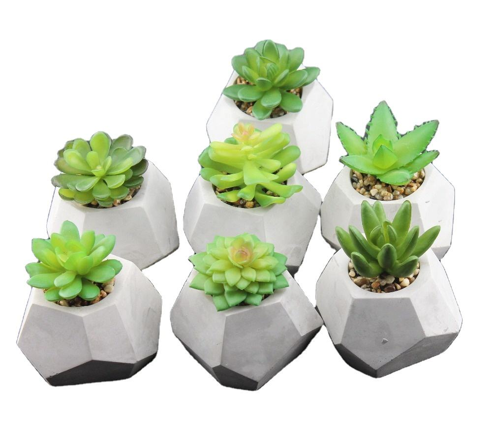 Cute Mini Faux Succulent Bonsai Green Plants Potted Small Artificial Bonsai Cactus