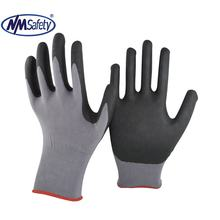 NMSAFETY grey nylon liner palm coated black nbr working gloves
