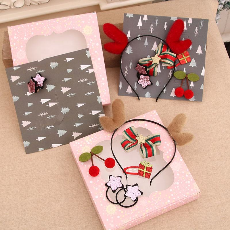 The New Christmas Costume Cute Jewelry Children's Antlers Headband Gift Box Set Can Be Used As Gifts